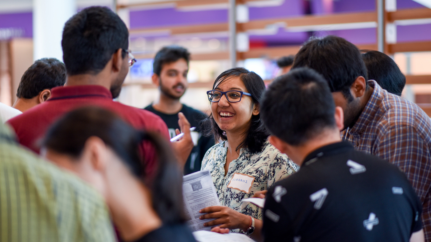 Students gather at international student orientation