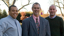 Photo of Roby Sawyers, right, with Michael Walden, center, and Karl Smith, Ph.D. candidate.