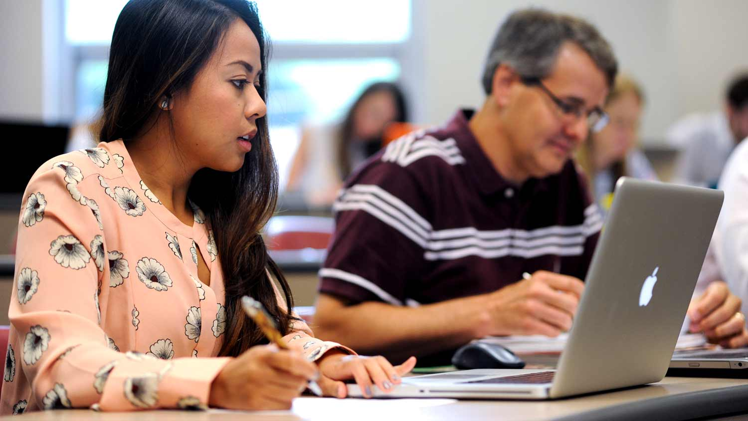Students work in Kathy Krawczyk's accounting class.