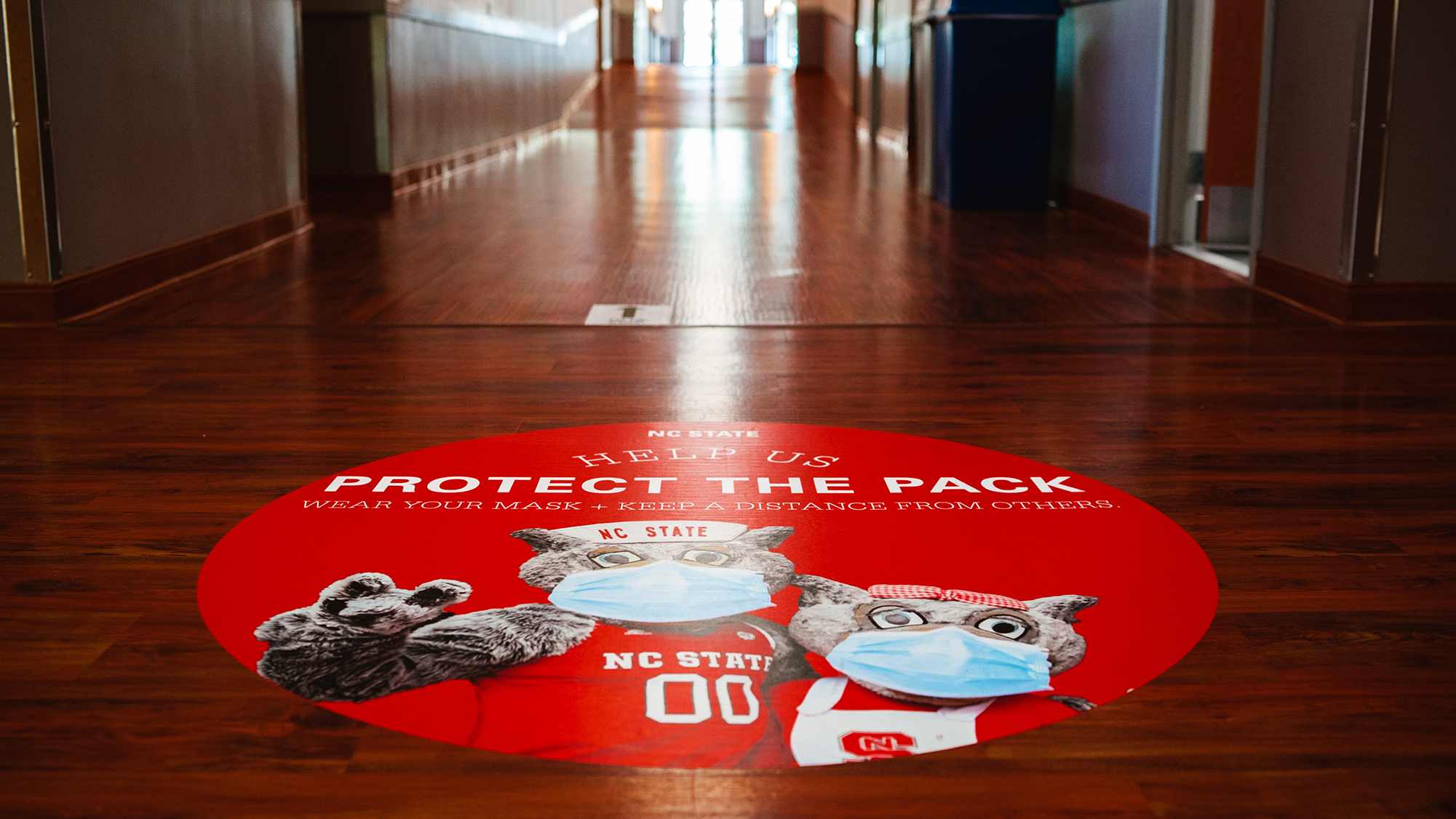 Nelson Hall Protect the Pack floor signage