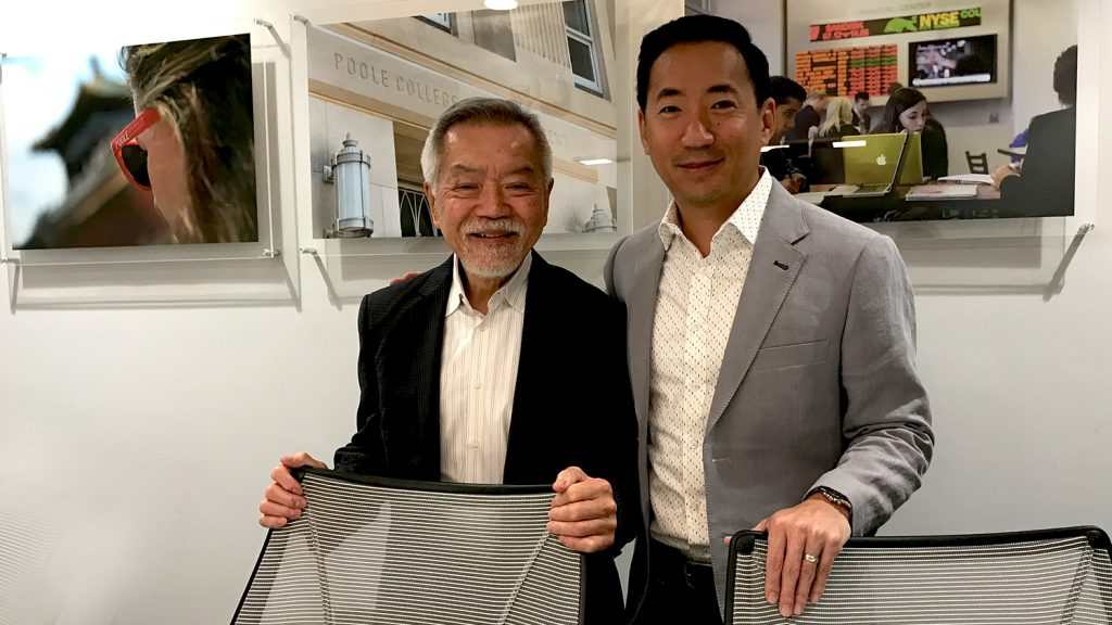 Matt Hong with his father