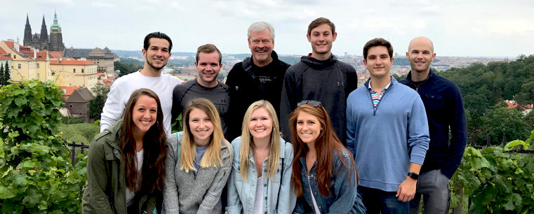 Dr. Bruce Branson, center, with MAC students in Prague, Summer 2018