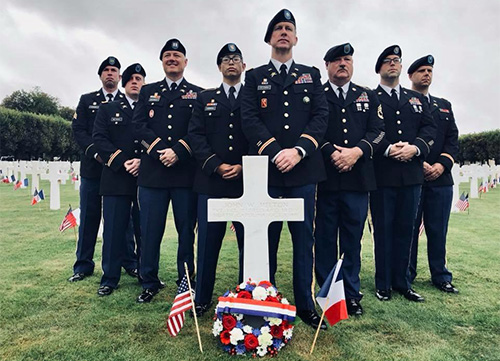 NC Army Reservists placed a wreath with their unit pin on the grave of NC native John Milton, laid to rest in the Meuse-Argonne cemetery