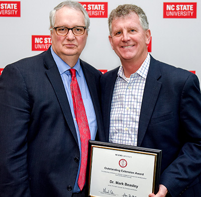 Warwick Arden, NC State executive vice chancellor and provost, and Mark Beasley, Deloitte Professor of Enterprise Risk Management and ERM director at Poole College