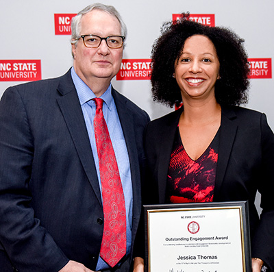 Warwick Arden, NC State executive vice chancellor and provost, and Jessica Thomas, Business Sustainability Collaborative director at Poole College