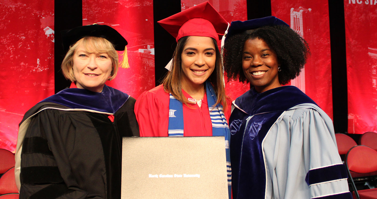 Student commencement speaker Marian Lorin Mercedes with Dean Annette L. Ranft and Associate Dean Tamah Morant