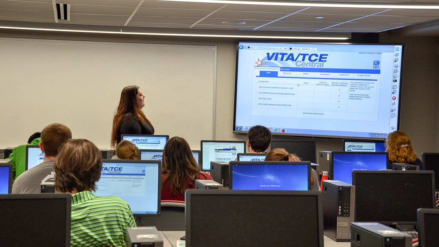 Photo of Poole College accounting students receiving VITA training.