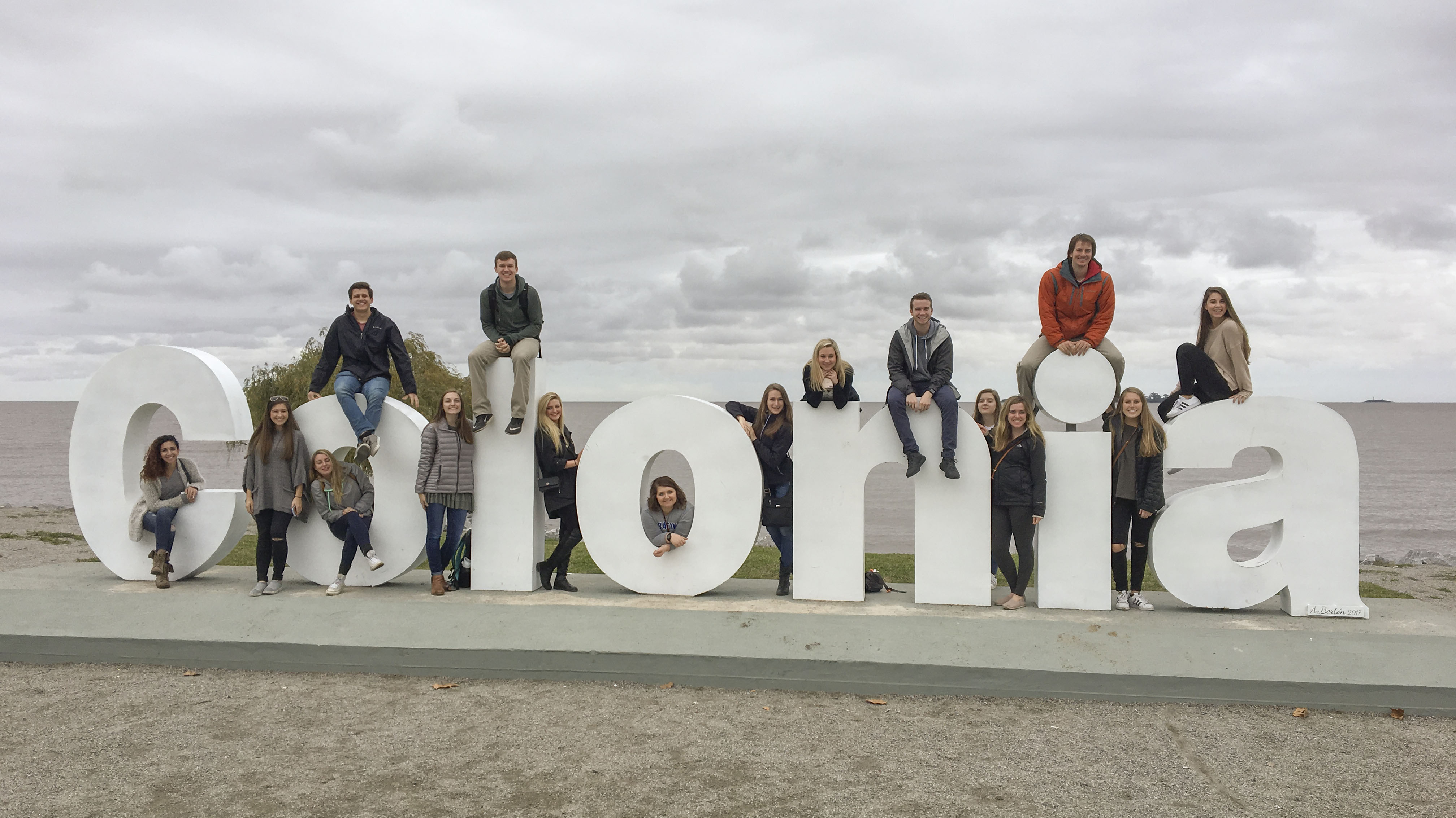 Devon Collins and her fellow students on their excursion to Colonia in Uruguay.