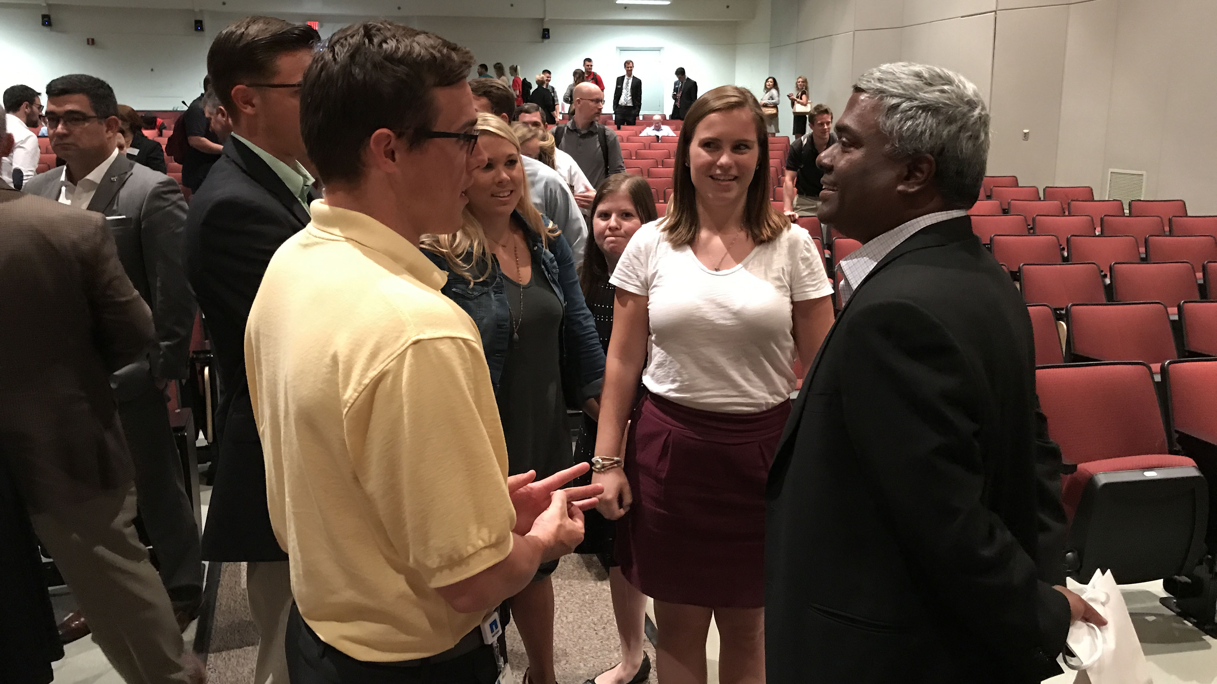 George Kurian, chief executive officer of NetApp, spoke with students and other guests following the NC State Poole College of Management's Executive Leadership Series program on Sept. 20, 2017