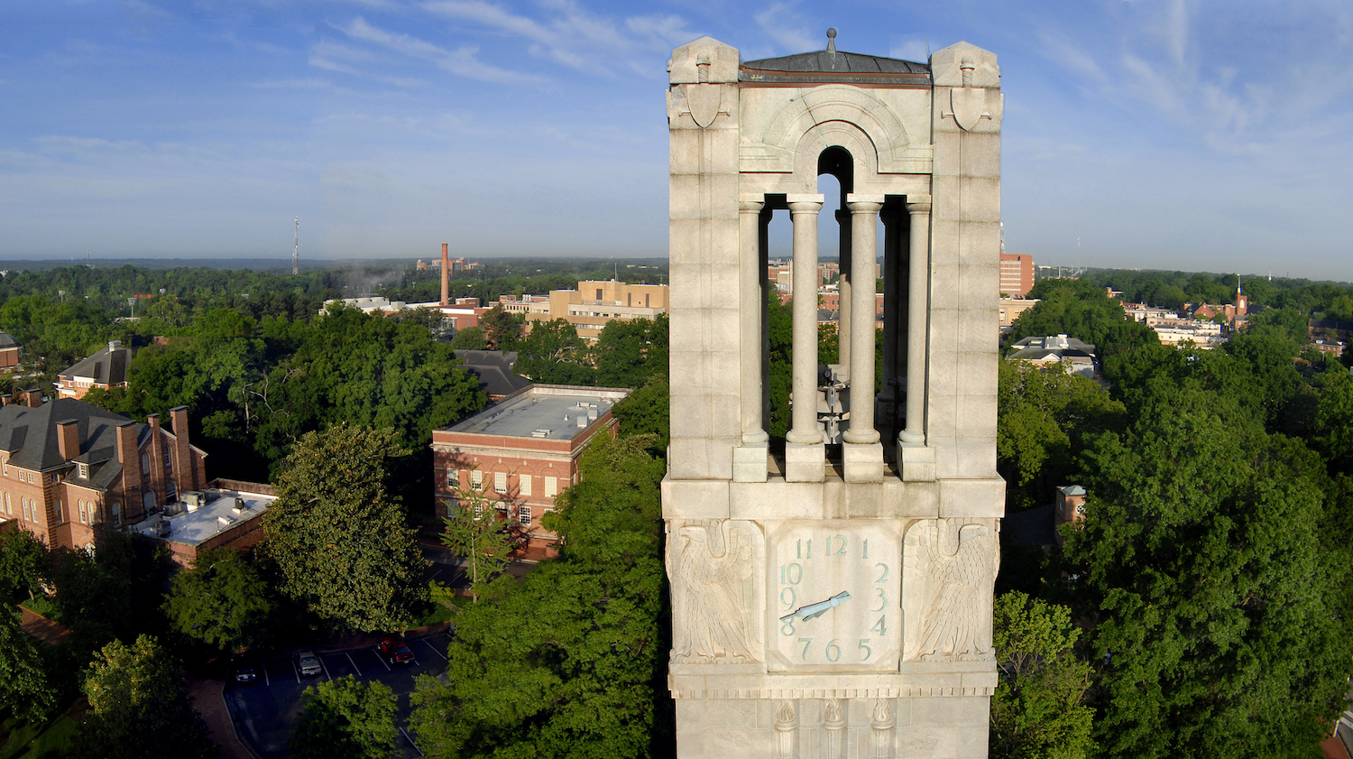 NC State Belltower and campus scene