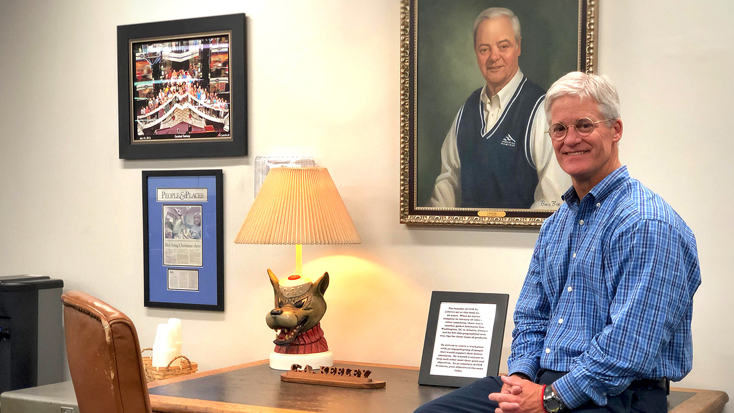 Chuck Keeley, B.A., Business Management '85, in his office at CGR Products.