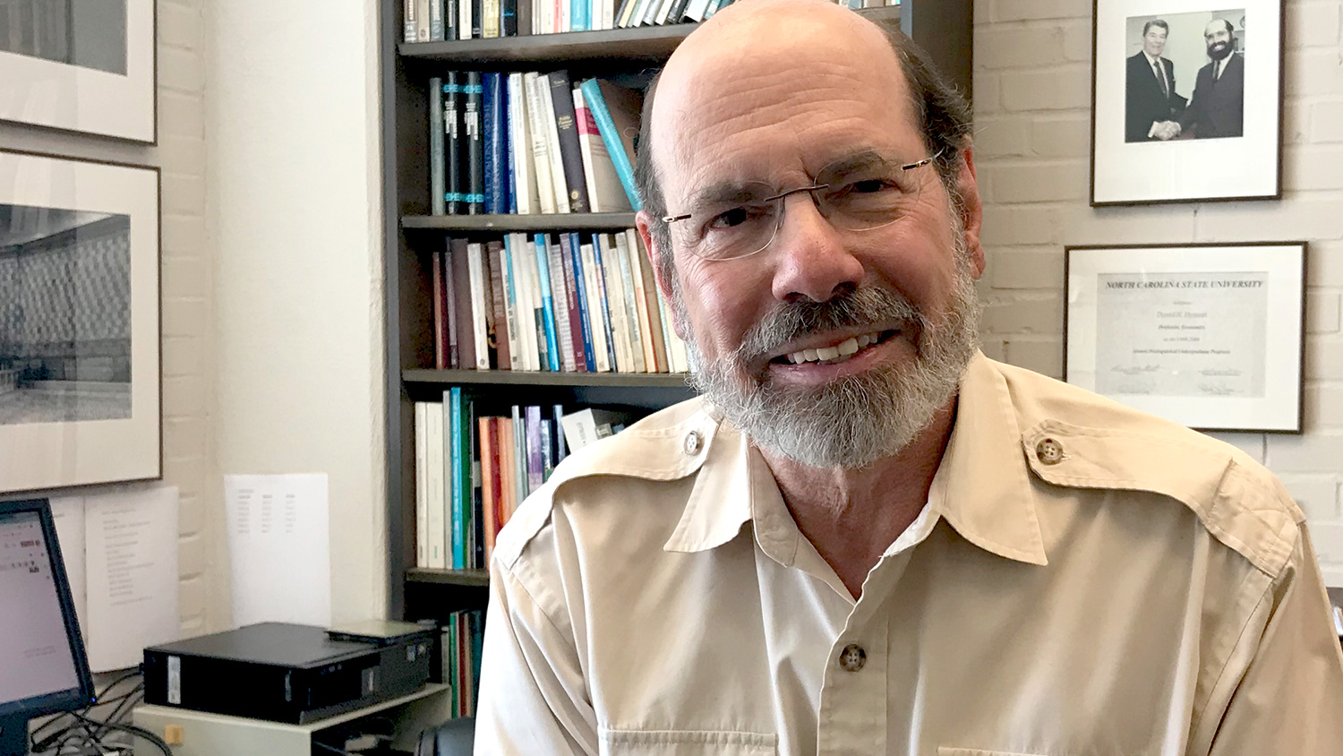 Professor David Hyman in his office at Nelson Hall.