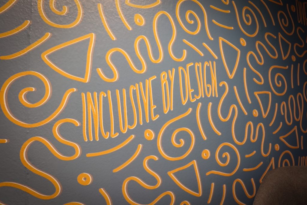 Inclusive by Design mural in the hub