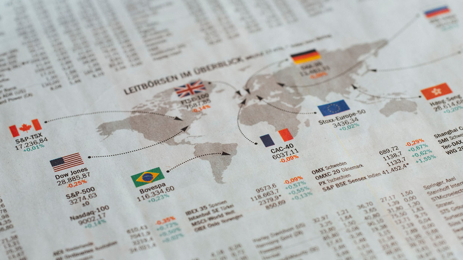 world map of stock exchanges