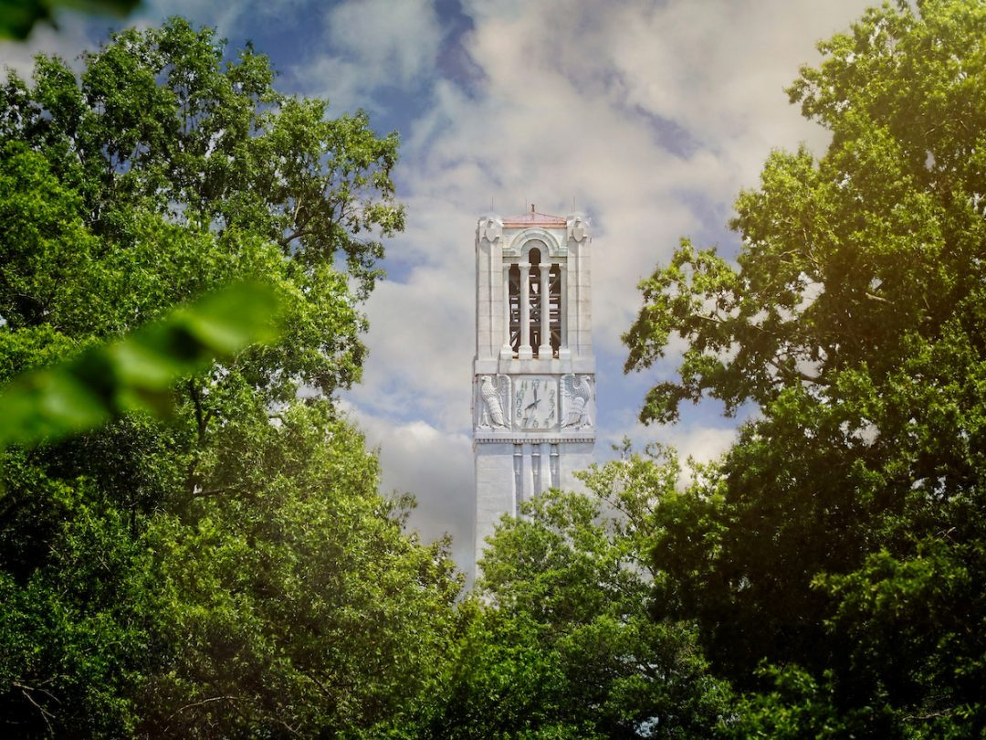 NC State Bell Tower view through trees