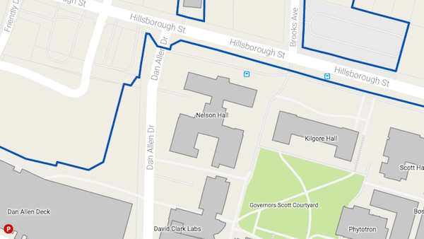 Map showing Nelson Hall